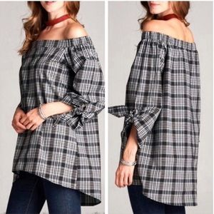 Off Shoulder Cotton Black White Plaid Blouse